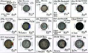 15 OLD  LATIN/SOUTH AMERICA COINS incl. a TOKEN >  SEE IMAGES > NO RSRV