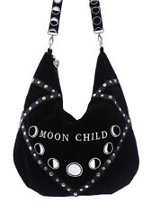 Restyle Moon Child Velvet Hobo Gothic Punk Occult Wicca Day Crossbody Bag Sack