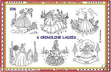 206 NEW 6 Crinoline Lady - Ladies Embroidery  IRON-ON Transfers Patterns