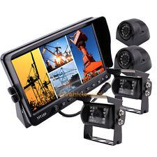 "7"" Quad Monitor Car Rear View Backup Camera System For Truck Trailer Caravan Bus"