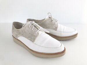 Rollie White Leather Madison Derby Lace-Ups with Pony Hair - Size 40 (9 to 9.5)