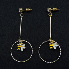 Betsey Johnson Enamel Round Little Bee Charm Earbob Dangle Earrings Gift