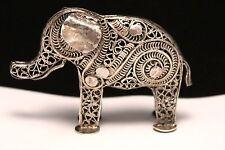 Vintage Filigree Sterling Silver Elephant Miniature Figurine