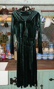 Vintage 40s/50s Chateau D'este Crushed Velvet Midi Dress, UK 8/10, Rich Green