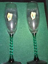 Irish Wedding Champagne (2) Flutes GreenTwist Stems/Pewter Harps/Bride/Groom