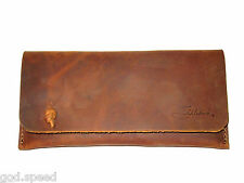 Genuine Saddleback Leather Script Logo SOFT SUNGLASS EYEGLASS PEN CASE Tobacco