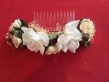 Braut Haarkamm verziert mit Rosen ca. 18 x 6 cm weiß rose grün creme