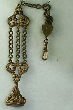 ANTIQUE BRASS WATCH FOB DANGLE WITH CHAINS