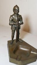 antique bronze patinated medieval knight figural lighter metal ashtray Japan
