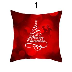 Red Printing Christmas Sofa Bed Home Cafe Decor Pillowcase Square Christmas 1pc