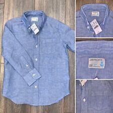 NWT Crewcuts Boys 6 7 LINEN Blend Dress Shirt Long Sleeve Button Down Blue $49