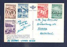Netherlands Antilles 1951 Kinderzegels KLM postcard pmk airport VLIEGVELD HATO