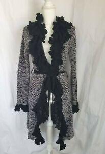 Anthropologie Black Gray Metallic Ruffled Knitted Cardigan Sweater Medium
