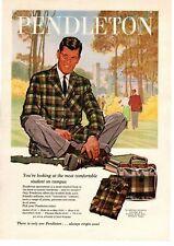 1959 Pendleton Wool Jacket Robe-In-A-Bag Shirt Flannel Slacks Campus Print Ad