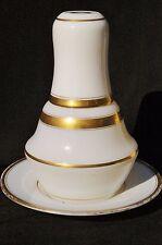 Service de nuit / Verre d'eau XIXème - Opaline de cristal blanc & filets or