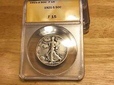 1921 S ANACS F15 Walking Liberty Half Dollar Silver Semi Keydate NICE ORIGINAL