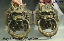 "11"" Folk China Bronze Copper Palace Guard Dragon Head Statue Door Knocker Pair"