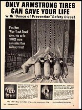 1963 Armstrong Tires Fingers Gripping Road Wide track tread Vintage Print Ad