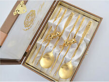Korean Titanium Spoon Chopsticks Stainless Steel Gold Plated Deer Couple Gift