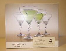 Barware Sonoma Z-Stem Margarita Set of 4 Glasses - 12. oz In Box Unused