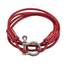 Unisex Trendy Leather Multi Strand Wrap Bracelet with Metal Screw Shackle Clasp
