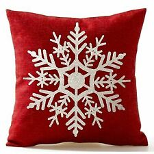 Snowflake In Red Merry Christmas Gifts flax Throw Pillow Case Cushion