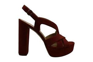 Michael Michael Kors Women's Shoes audrina Suede Peep Toe, Rust, Size 10.0 WtFz
