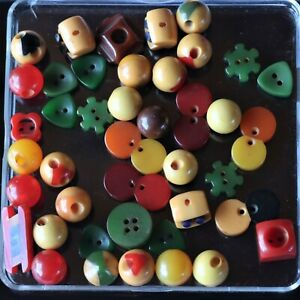 True Vtg Group Lot Various Small Multi Color Bakelite Buttons Figural Two Tone