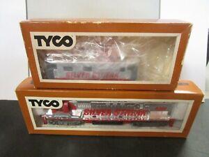 TYCO HO SILVER STREAK ALCO 430 CHROME LOCOMOTIVE & CABOOSE -BOXES, RUNS-VINTAGE