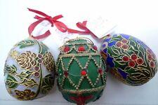 Lot 3 Vintage Nyco Nikki Yassaman Collectible Easter Egg Ornaments Metal Hand