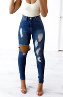 WAKEE ULTRA HIGH RISE SKINNY LEG RIPPED JEANS IN BLUE. SIZE 6-16