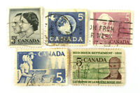 Lot Of Five Cancelled Canada Postage Stamps With Dates Of 1955-1963