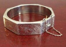 sterling silver handmade wide bracelet 7 solid 925 silver hinged flower floral textured bangle 530709 engraved \u201cgood luck from vintage