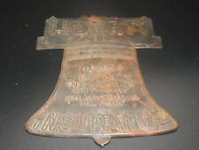 Antique Bronze Indiana Liberty Mutual Insurance Bell Sign Plaque Indianapolis