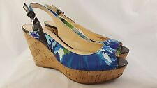 "MARC FISHER ""Genoa"" Blue Floral Peep Toe Slingbacks w/ Cork Platform Womens's 7M"