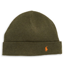 $96 POLO RALPH LAUREN Mens GREEN CUFFED KNIT HAT PONY CAP WINTER BEANIE ONE SIZE