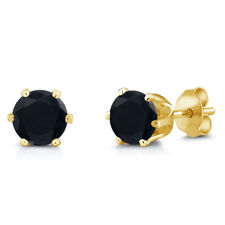1.40 Ct Round 6mm Black Onyx Brass Yellow Gold Plated Brass Stud Earrings