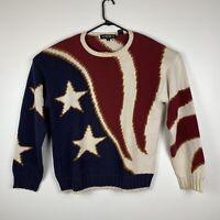 Vintage Perry Ellis 1990's American Flag Patriotic Sweater M Men's