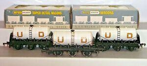 Wrenn W4657 00 Gauge Rake x3 Six Wheel United Dairies Milk Tanker Wagons Used