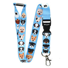 Rolseley Lanyard neck strap with 20 dog puppy breed pattern, with metal clip