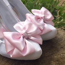 Bridal Shoe Clips for Shoes Pink Prom Shoe Bow Satin Shoe Clips Burlesque Pinup