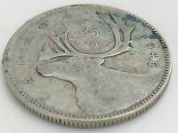 1946 Canada Twenty Five 25 Cent Quarter Silver Circulated George VI Coin K136