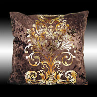 LUXURY SHINY CHOCOLATE GOLD DAMASK VELVET THROW PILLOW CASE CUSHION COVER 17""