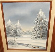BARRISTER SNOW RIVER TREE LANDSCAPE OIL ON BOARD PAINTING