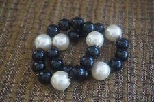 Set of Two faux pearl & black bead  stretch beaded bracelets     10