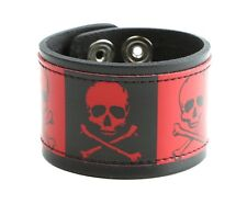 Skull Crossbone Red Black Punk Gothic Genuine Leather Bracelet Wrist Cuff