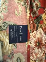 """Ralph Lauren-""""Marseilles""""-King-Dust Ruffle/Bedskirt-Red w/Floral Design-High End"""