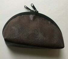 """Cosmetic Zippered Pouch brown leather 7 x 4.5 x 2"""" new"""