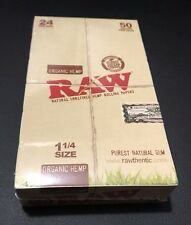 """Authentic Raw Organic Rolling Papers 1 1/4"""" 24 Packs Of 50 **Free Shipping**"""