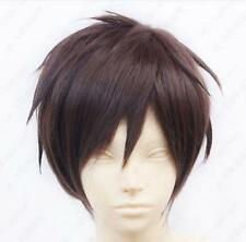 NEW Attack on Titan Eren Jaeger Short Dark Brown Cosplay Wig free shipping